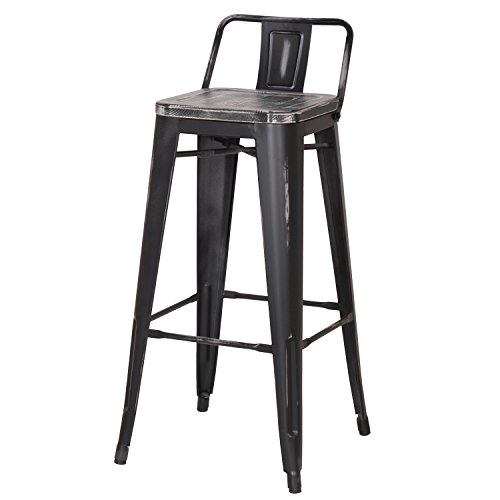 Joveco 30 Inches Industrial Chic Distressed Metal Bar Stool with Low Back, Set of 2, Black with Black Seat