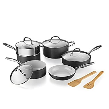 Pots and Pans Set, Gray Ceramic Coating Nonstick Hard-Anodized Aluminum Scratch Resistant PTFE, PFOA Free Cookware Set With bamboo Utensils and glass lids, Sauce Pan with Steamer, 12-PCS Black