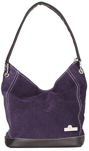 LIATALIA Hand Made Single Handle Real Italian Suede Leather Medium Hobo Handbag Purse - DENISE [Deep - Leather Deep Purple Handbags