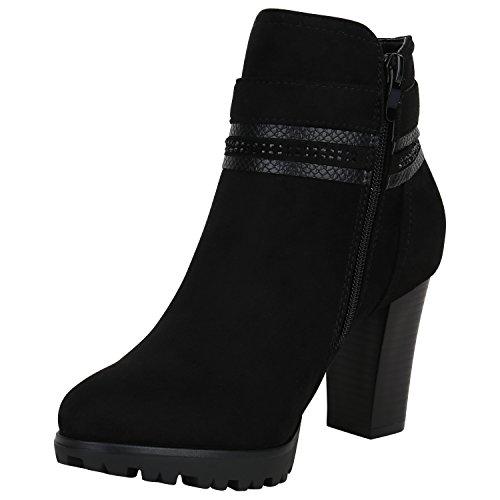 Stiefelparadies Damen Ankle Boots Plateau Stiefeletten Zipper Leder-Optik Schuhe Metallic High Heels Strass Profilsohle Booties Flandell Schwarz Strass