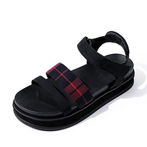 厚底サンダル レディース 歩きやすい 厚底靴 チェック柄 ぺたんこ フラットシューズ マジックテープ カジュアル 可愛い おしゃれ 夏 通気 軽量 日常 美脚 身長up