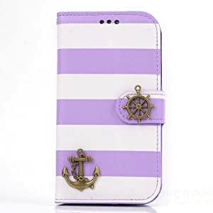 ISSEC Rainbow Pirate Ship Leather Case For iPhone 5 5S(Purple)