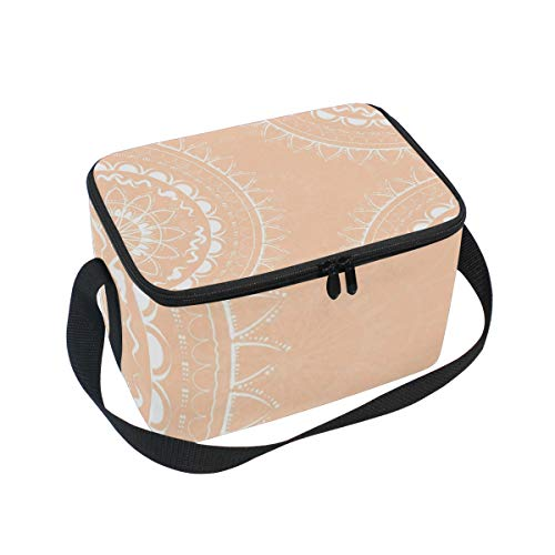 Lunch Bag Bohemian Medallion, Large Insulated Bento Cooler Box with Black Shoulder Strap for Men Women Kids, BaLin 10