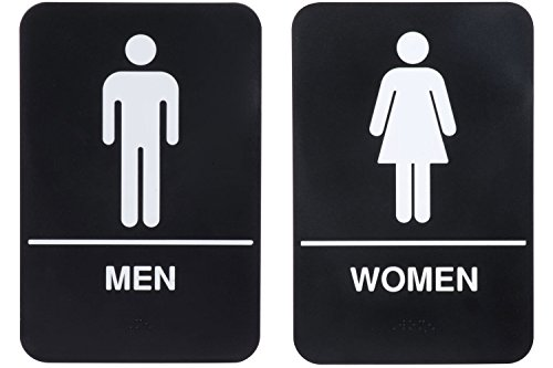 ''Men'' & ''Women'' Restrooms Sign Set with Braille, Toilet Door Plate for Business Restaurant, 6'' x 9'' by AborenCo