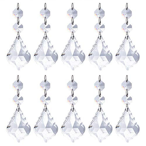 - Pack of 10 Replacement Clear Maple Leaf Chandelier Crystal Prisms Pendants Shiny Glass with Octagonal Crystal Beads and Metal Split Ring for Lamp Decoration Jewelry Making (50mm)