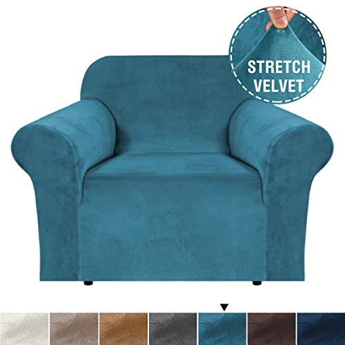 H.VERSAILTEX 1 Piece Stretch Stylish Armchair Cover Feature Real Velvet Plush Fabric, Soft Thick Luxury Velvet Furniture Sofa Cover Slipcover Machine Washable/Skid Resistance (Chair, Peacock Blue) (Cheap Luxury Furniture)
