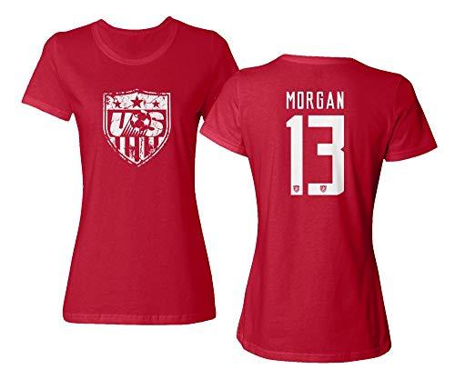 (TURXIN New Soccer Shirt America USA National Team #13 Alex Morgan Ladies Crewneck T-Shirt (Red, Medium))