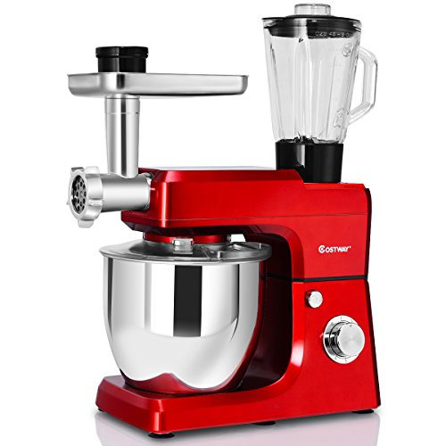 Ground Stand - Costway 3 In 1 Tilt-Head Stand Mixer 800W Upgraded Multifunctional Adjustable Speed Kitchen Electric Mixer with 7-Quart Stainless Steel Bowl Meat Grinder, Blender (Red)