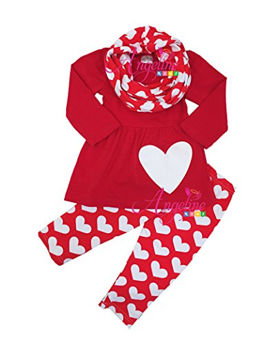 Boutique Clothing Spring Valentine Red Heart Breaker 3pc Tunic Legging Scarf Set 8