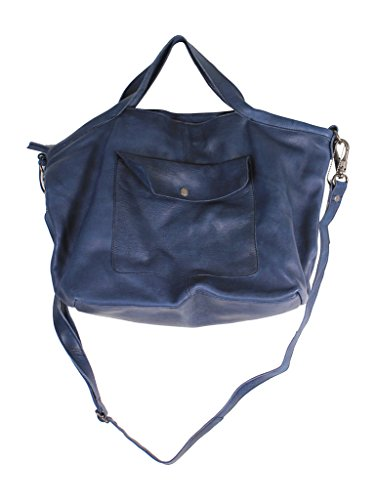 (Latico Leathers Colin Tote Bag, 100 Percent Luxury Leather Designer Made, NEW FALL 2016, Weekend Casual Fashion, Navy)