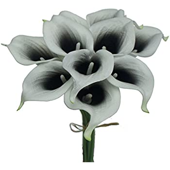 "Lily Garden Mini 15"" Artificial Calla Lily 10 Stem Flower Bouquets (Black Center)"