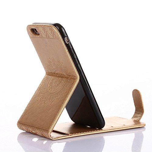 Für Apple iPhone 6 (4,7 Zoll) Tasche ZeWoo® Ledertasche Kunstleder Brieftasche Hülle PU Leder Schutzhülle Case Cover - GH012 / golden