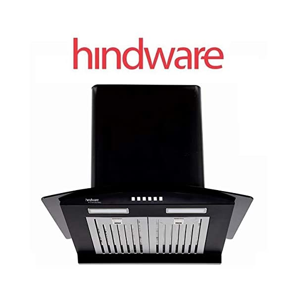 Hindware Victoria 60 Cm Wall Mounted Chimney For Kitchen, Auto Clean With Push Button Control Black Hood 1100 M3/Hr With…