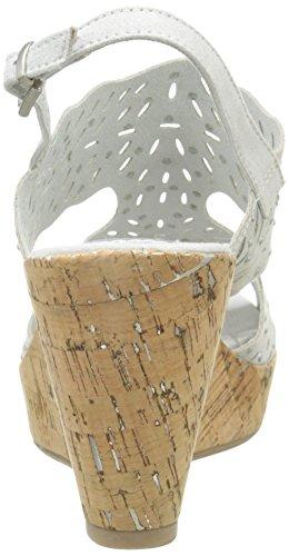 Marco Tozzi 28364 - Sandalias de vestir de lona para mujer Gris (Quartz 201)
