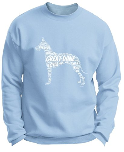 Great Dane Crewneck Sweatshirt (Plus Size Dog Gift Great Dane Word Art Dog Puppy Owner Gift Premium Crewneck Sweatshirt 3XL LtBlu)