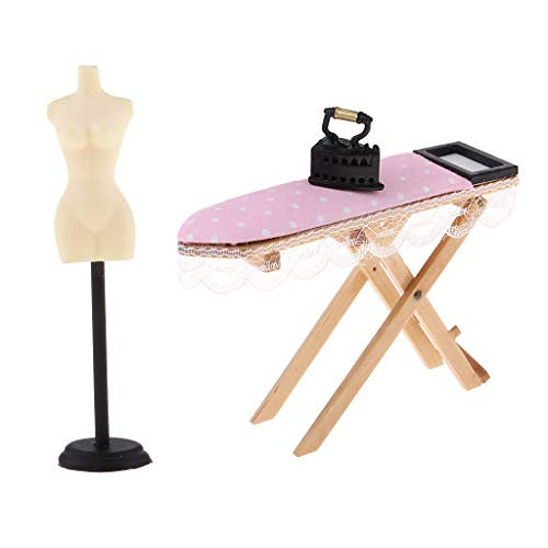 SM SunniMix 1/12 Doll House Miniature Furniture Doll Stand & Iron with Ironing Board Set DIY Kids Pretend Play Toys ()