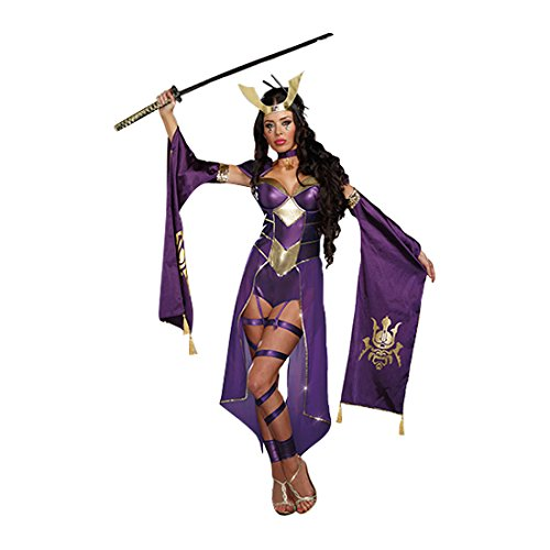 Dreamgirl Women's Mortal Samurai Video Game Romper Costume, Purple, Small