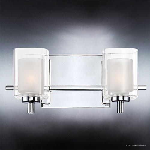 Luxury Modern Bathroom Vanity Light, Medium Size: 6''H x 13''W, with Posh Style Elements, Polished Chrome Finish and Sand Blasted Inner, Clear Outer Glass, G9 LED Technology, UQL2401 by Urban Ambiance by Urban Ambiance (Image #3)