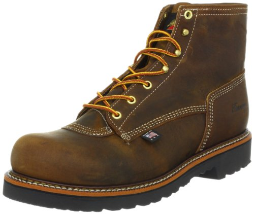 Thorogood Heritage 6-Inch Plain Toe Work Boot, Brown Crazy Horse, 9.5 D US