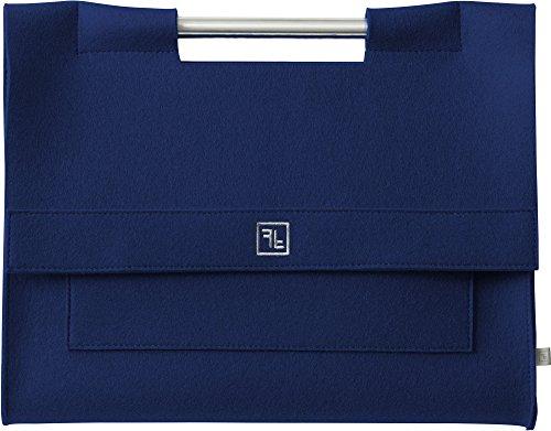 Fine Filz Laptop Tasche LT3 für 15 Zoll Geräte wie z. B. MacBook Pro 15 aus reinem Merinowollfilz - 100% Handmade in Germany (Burgandi) Deep Sea