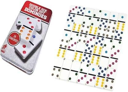 Ngel Dominoes Double 6 Color Dot 28 Pieces Match  amp; Educational Block Toy Game Set in Tin Case for Children