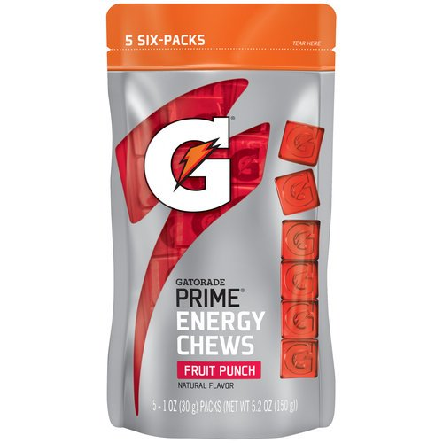Gatorade Prime Fruit Punch Energy Chews-5 (6 Count) Packs in Sealed Bag