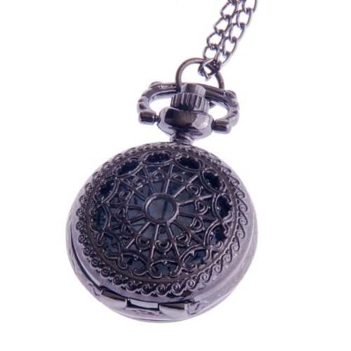 Ladies Pocket Watch Pendant Necklace Small White Dial Vintage Reproduction Steampunk Design PW-54