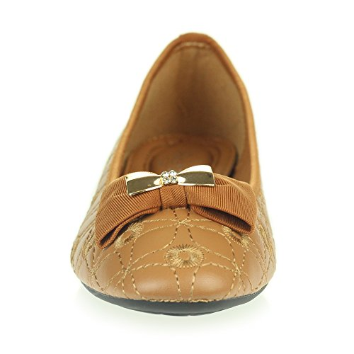Womens Ladies Flat Ballet Dolly Pumps Ballerinas Closed Toe Smart Work Office Comfort Slip On Shoes Size Brown. 1CNBKYaWH