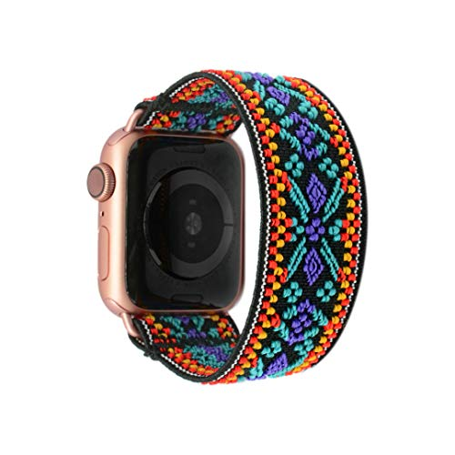 Tefeca Blue Embroidery Ethnic Pattern Elastic Compatible/Replacement Band for Apple Watch 38mm 40mm 42mm 44mm (Gold Adapter for 38mm/40mm Apple Watch, Wrist Size : 7.5-8.0 inch (L5))