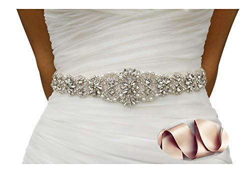 QueenDream Wedding Bridal Belt, Braided Rhinestone Sash Champagne