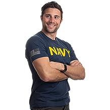 Ann Arbor T-shirt Co. Navy Chest Print & U.S. Military Sleeve Flag   Naval Veteran Sailor Style Shirt