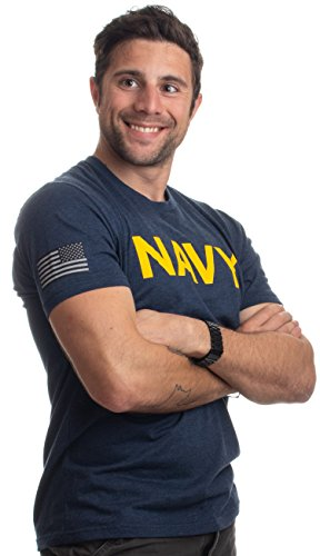 Navy Chest Print & U.S. Military Sleeve Flag | Naval Veteran Sailor Style Shirt-(Navy, L)