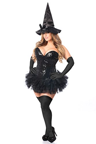 Daisy Corsets Women's Top Drawer Plus Size 4 Pc Sexy Witch Corset Costume, Black, 6X -