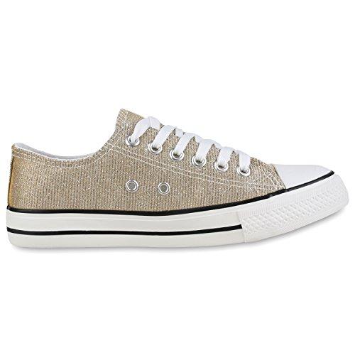 Japado Elegante Damen Sneakers Low Glitzer Canvas Schuhe Turnschuhe Freizeit Gr. 36-41 Gold-Weiss