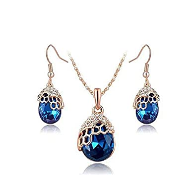 Amazon QingMate Simple Personality Earrings HOX Hypoallergenic Fashion Jewelry Rose Gold Luxury Blue Diamond Set Of Accessories Color