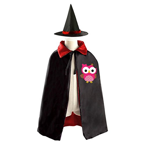 Owl Costumes Diy (DIY PINK The owl Costumes Party Dress Up Cape Reversible with Wizard Witch Hat)