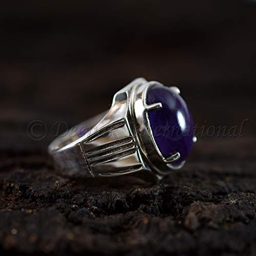 Cab Amethyst Ring - solid 925 sterling silver natural purple amethyst oval aaa cab mens fine Solid ring jewelry four prong silver jewelry