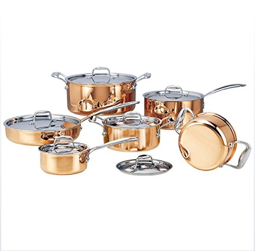 ハイグレード銅6個のフライパンで鍋を作るステンレスポットホットポットとパンの調理器具セット   B07FL7BBXP