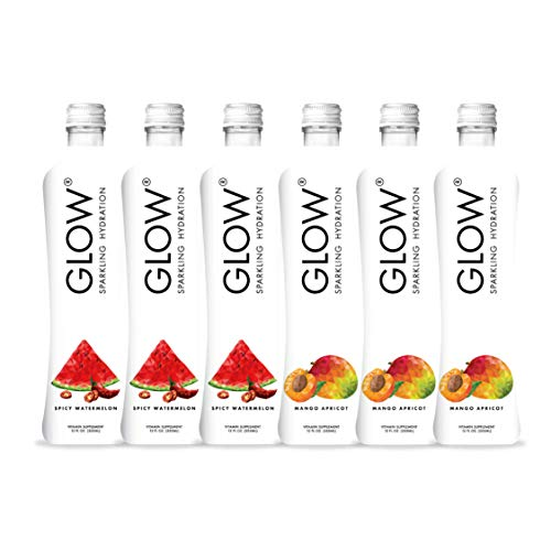 GLOW Beverages Premium Sparkling Infused Hydration Sample Pack - 6 Pack 12oz Glass - Spicy Watermelon & Mango Apricot - Vitamins & Antioxidants