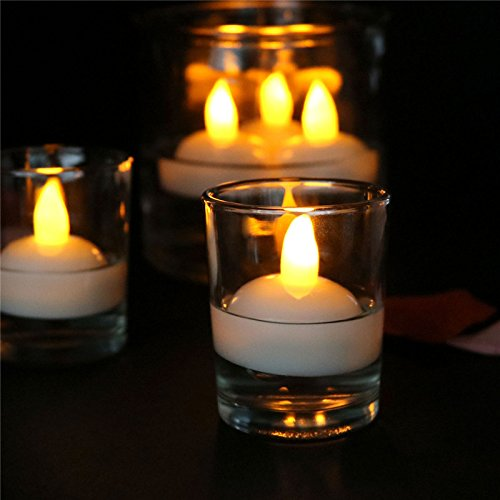 of LED Floating Candles, Water Actived Led Tea Lights Candles for Pool, Fountain, Vase and Fish Tank (24PCS Yellow) ()