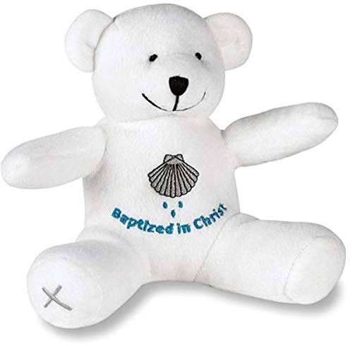 Small Embroidered Baptized in Christ Plush Teddy Bear, 6 Inch