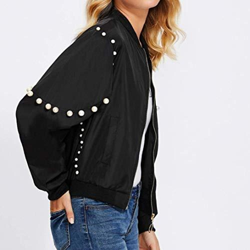 Nero Donna Giacca Eleganti Giovane Giubbino Women Fashion Primaverile Decorato Bomber Outwear Jacket Relaxed Maniche Lunghe Perline Zip Autunno Casual Yasminey Cappotto SgCnPAwqx5