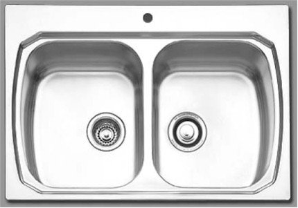 Oliveri 863 1 Stainless Steel Sink, Double Equal Basins, Topmount