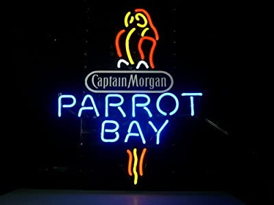 """New Captain Morgan Parrot Bay Spiced Rum Real Glass Neon Light Sign Home Beer Bar Pub Recreation Room Game Room Windows Garage Wall Sign 17w""""x 14""""h"""