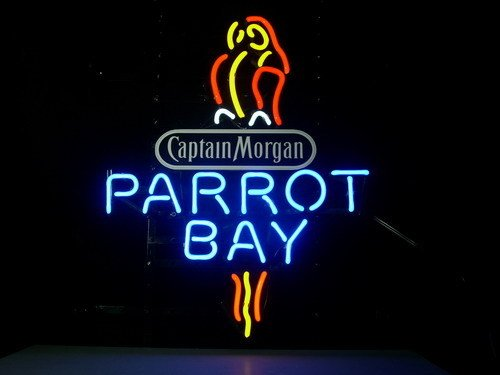 New Captain Morgan Parrot Bay Spiced Rum Real Glass Neon Light Sign Home Beer Bar Pub Recreation Room Game Room Windows Garage Wall Sign 17w