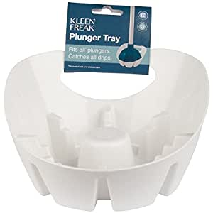kleen freak antibacterial universal plunger holder tray with germ guard white. Black Bedroom Furniture Sets. Home Design Ideas