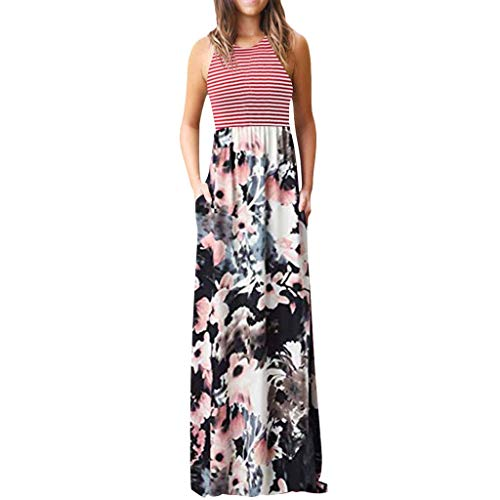 NEARTIME Women's Print Dress, Summer Ladies Striped Floral Print Sleeveless Tie Waist Maxi Dress with ()