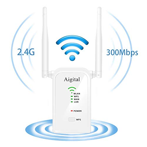WiFi Range Extender, Aigital 300M Wireless Repeater Network Signal Booster Internet Hotspot Access Point Amplifier with WPS Function, Dual External Antennas for Better Reception and Superboost