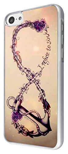iphone 5C Floral Anchor i refuse to sink tattoo infinity Design Fashion Trend Hülle Case Back Cover Metall und Kunststoff