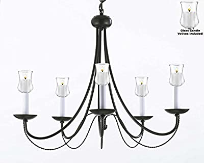 "Empress Crystal (tm) Chandelier Lighting Chandeliers W/ Candle Votives H22.5"" W26"" - For Indoor / Outdoor Use! Great for Outdoor Events, Hang from Trees / Gazebo / Pergola / Porch / Patio / Tent !"